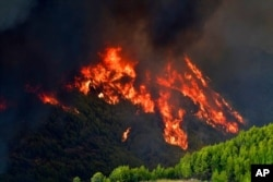 Flames burn a mountain in Platanos village, near ancient Olympia, western Greece, Aug. 4, 2021.