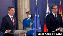 Slovenian President Borut Pahor with Serbian President Aleksandar Vucic at a meeting in Belgrade