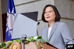 This handout picture taken on May 20, 2020 by the Taiwan Presidential office shows Taiwan's President Tsai Ing-wen speaking at the Taipei Guest House as part of her inauguration for her second term as in office, in Taipei.