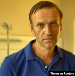 Russian opposition politician Alexei Navalny is pictured at Charite hospital in Berlin, Oct. 15, 2020.