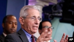 Dr. Anthony Fauci, director of the National Institute of Allergy and Infectious Diseases, speaks during a briefing on coronavirus in the Brady press briefing room at the White House, Saturday, March 14, 2020, in Washington.