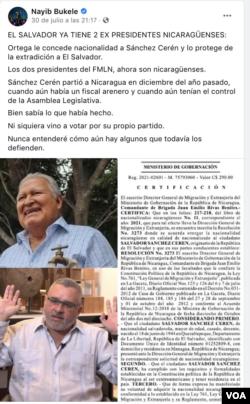 Publicación en Facebook del presidente de El Salvador, Nayib Bukele, sobre la nacionalización nicaragüense del expresidente Salvador Sánchez Cerén.