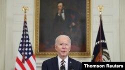 조 바이든 미국 대통령이 24일 백악관 기자회견에서 발언하고 있다.