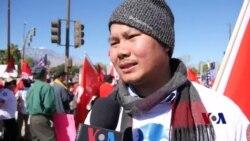 美国与东盟峰会的抗议者抗议什么?