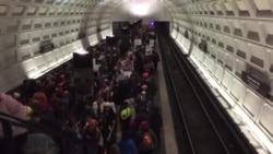 Metro Platform Crowded with Protesters train doesn't stop