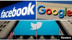 Facebook, Google and Twitter logos are seen in this combination photo.