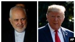 ໃນພາບນີ້ ຂອງຜູ້ນຳທັງສອງ, ລັດຖະມົນຕີການຕ່າງປະເທດ ຂອງອີຣ່ານ ທ່ານໂມຮຳມັດ ຈາວາດ ຊາຣີຟ (Mohammad Javad Zarif), ຊ້າຍ, ເດີນທາງຮອດ ເມືອງແຊນຕາ ຄຣູູສ ຂອງໂບລີເວຍ, ວັນທີ 23 ກໍລະກົດ 2019; ປະທານາທິບໍດີ ທຣຳ ກຳລັງຍ່າງຜ່ານເດີ່ນຫຍ້າກ້ຳໃຕ້ ຂອງທຳນຽບຂາວ, ວັນທີ 30 ກໍລະກົດ 2019.