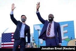 USA-ELECTION/GEORGIA-BIDEN Jon Ossoff and Raphael Warnock