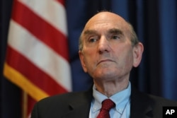 Elliott Abrams, U.S. special representative for Iran, talks during an interview with The Associated Press at the U.S. Embassy in Abu Dhabi, United Arab Emirates, Nov. 12, 2020.