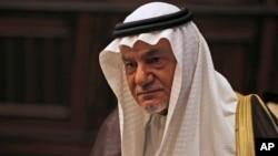 FILE - Saudi Prince Turki al-Faisal talks to the Associated Press in Abu Dhabi, United Arab Emirates, Nov. 24, 2018.