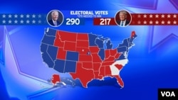 United States map for 2020 Presidential Election Results as of 12:16 PM EST on 11/11/2020 with Joe Biden 290 BLUE and Donald Trump 217 RED labels with ELECTORAL VOTES and 270 NEEDED TO WIN lettering, finished graphic