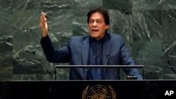 លោក Imran Khan នាយករដ្ឋមន្ត្រីប៉ាគីស្ថាន ថ្លែងក្នុងកិច្ចប្រជុំអចិន្ត្រៃយ៍លើកទី៧៤ របស់អង្គការសហប្រជាជាតិ នៅបុរីញូវយ៉ក សហរដ្ឋអាមេរិក កាលពីថ្ងៃទី២៧ កញ្ញា ២០១៩។