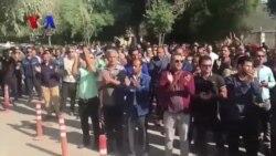 تجمع اعتراضی کارگران گروه ملی فولاد اهواز: همشهری با غیرت حمایت حمایت