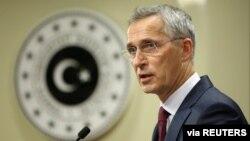5 Ekim 2020 - NATO Genel Sekreteri Jens Stoltenberg Ankara'da bir basın toplantısında konuşma yaparken