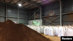 FILE - Rare earths dug up and processed into concentrate at Mount Weld in western Australia are pictured after being shipped to a plant in Gebeng, Malaysia, July 3, 2014.