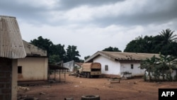 FILE - A truck of the Wagner Group, a Russian private military organization, is seen Feb. 3, 2021, in the looted Central African Republic army base of Bangassou, attacked by rebels Jan. 3, 2021. A potential deal would bring up to 1,000 Wagner mercenaries to Mali.