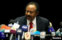 FILE - Sudan Prime Minister Abdallah Hamdok speaks during press conference in Khartoum, Sudan, Sept. 3, 2019.