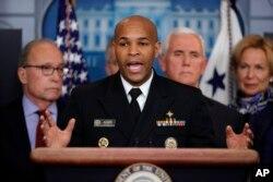 Kepala Kesehatan Masyarakat AS Jerome Adams dalam konferensi pers di Gedung Putih, di Washington, tentang virus corona.