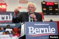 Democratic 2020 U.S. presidential candidate Senator Bernie Sanders rallies with supporters at Winston-Salem State University in Winston-Salem, N.C., Feb. 27, 2020.