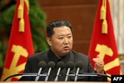 FILE - North Korean leader Kim Jong Un speaks at the office of the Party Central Committee in Pyongyang in this picture taken September 2, 2021 and released from North Korea's official Korean Central News Agency. (Photo by STR/KCNA via KNS/AFP)