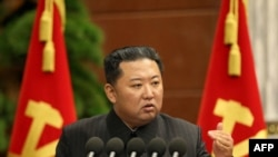 FILE - North Korean leader Kim Jong Un speaks at the office building of the Party Central Committee in Pyongyang in this picture taken Sept. 2, 2021, and released from North Korea's official Korean Central News Agency.