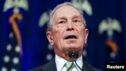 រូបឯកសារ៖ លោក Michael Bloomberg ថ្លែងនៅក្នុងសន្និសីទកាសែតមួយ នៅក្នុងក្រុង Norfolk រដ្ឋ Virginia សហរដ្ឋអាមេរិក កាលពីថ្ងៃទី២៥ ខែវិច្ឆិកា ឆ្នាំ២០១៩។