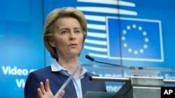 Presidentja e Komisionit Evropian, Ursula von der Leyen; 23 prill 2020.