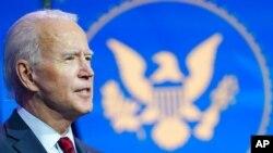Tổng thống đắc cử Joe Biden phát biểu tại nhà hát Queen ở Wilmington, bang Delaware, ngày 8 tháng 12, 2020.