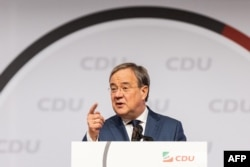 FILE - Armin Laschet, a candidate for chancellor of the conservative Christian Democratic Union party, speaks in Duesseldorf, Germany, June 5, 2021.