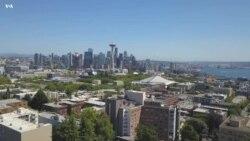 Сиэтл и штат Вашингтон. Съемка с дрона