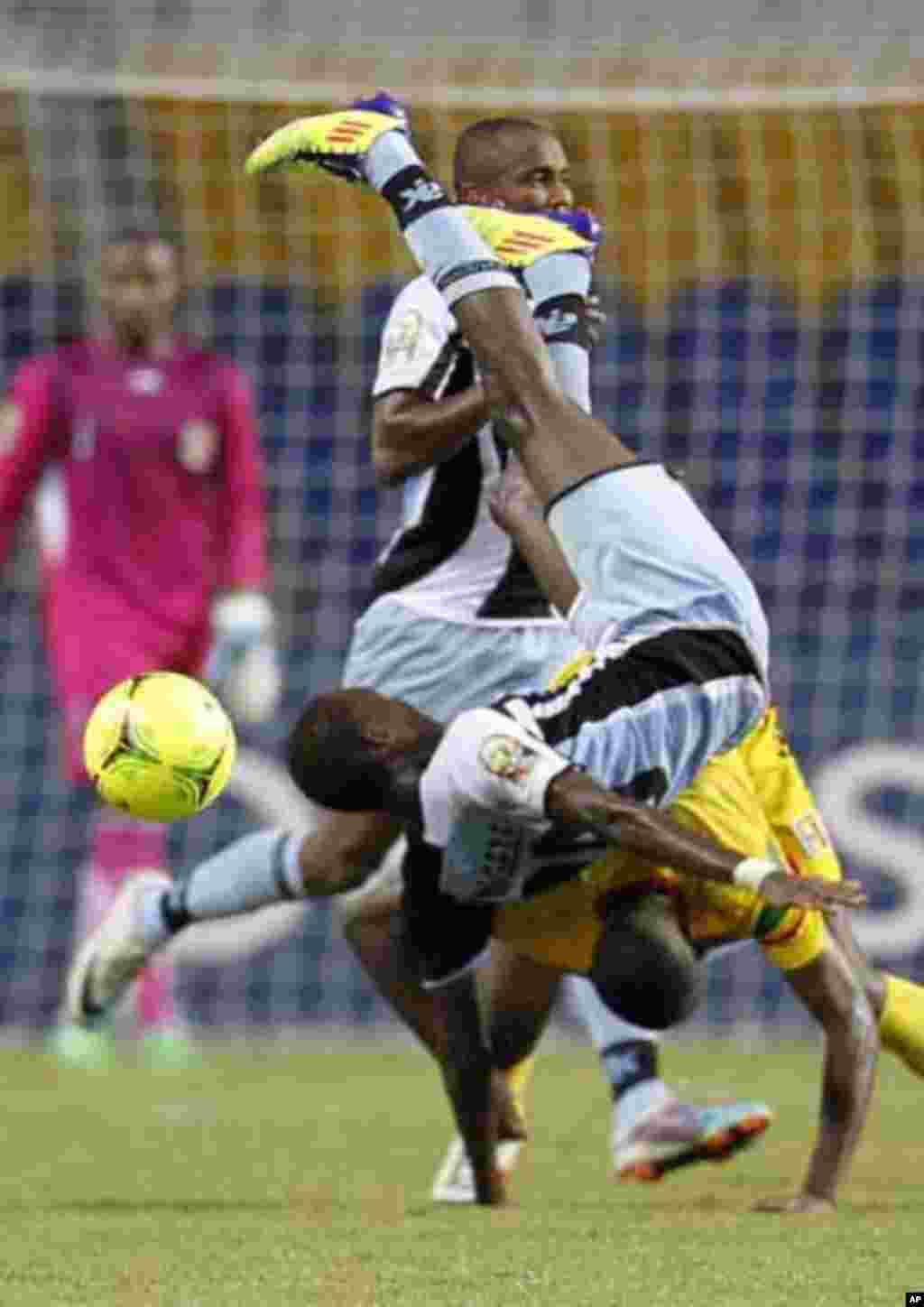 Botswana's Mogakolondi Ngele falls during their final African Cup of Nations Group D soccer match against Mali at the Stade De L'Amitie Stadium in Libreville February 1, 2012.
