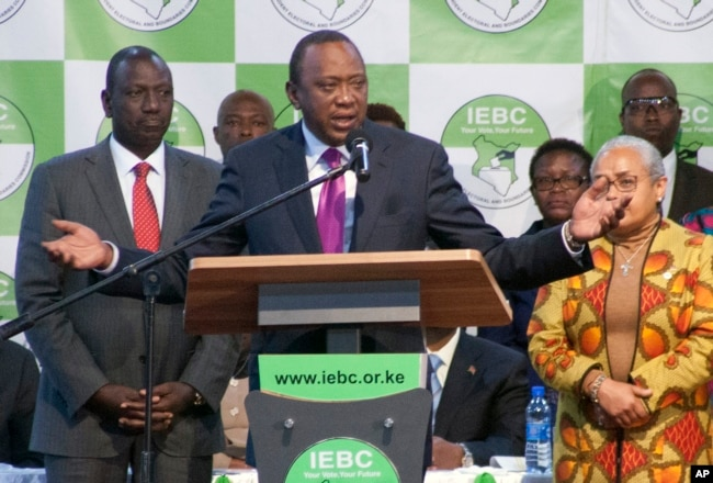 Uhuru Kenyatta addresses the crowd after the announcement in the presidential race at the Centre in Bomas, Nairobi, Kenya, Aug.11, 2017.