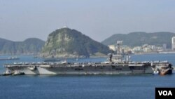 ກຳປັ່ນບັນທຸກເຮືອບິນ ສຫລ ທີ່ແລ່ນດ້ວຍພະລັງງານນິວເຄລຍ USS Nimitz ໄປເຖິງເກົາຫລີໃຕ້ແລ້ວ ເພື່ອເຂົ້າຮ່ວມການຊ້ອມລົບ