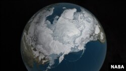 FILE - Arctic sea ice was also at a record-low wintertime maximum extent for the second straight year, at 5.607 million square miles — 431,000 square miles below the 1981-to-2010 average. (Credit: NASA Goddard's Scientific Visualization Studio/C. Starr)