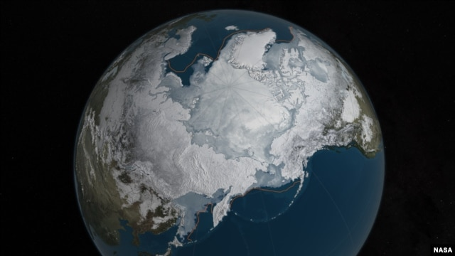 Arctic sea ice was at a record low wintertime maximum extent for the second straight year. At 5.607 million square miles, it is the lowest maximum extent in the satellite record.  Credits: NASA Goddard's Scientific Visualization Studio/C. Starr