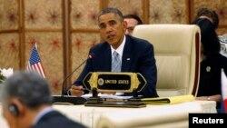 Tổng thống Hoa Kỳ Barack Obama phát biểu tại Hội nghị Thượng đỉnh ASEAN tại Naypyitaw, ngày 13/11/2014.