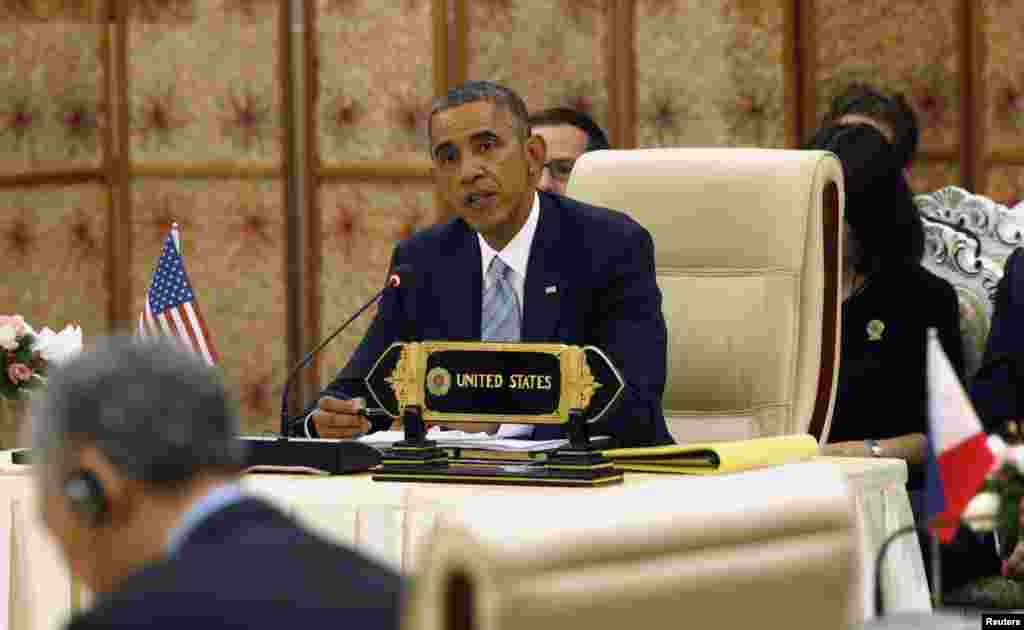 President Barack Obama speaks at the second ASEAN-U.S. Summit in Naypyitaw, Myanmar, Nov. 13, 2014.