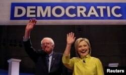 Democratic U.S. presidential candidates Senator Bernie Sanders and former Secretary of State Hillary Clinton on Feb. 11, 2016.