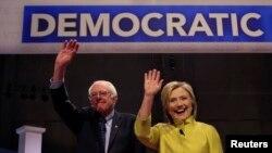 Wagombea wa urais wa Marekani kwa tiketi ya chama cha Democratic seneta Bernie Sanders andwaziri wa zamani wa mambo ya nje Hillary Clinton.