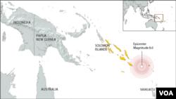Wilayah yang terkena musibah gempa bumi di Kepulauan Solomon (Foto: peta wilayah kepulauan Solomon).