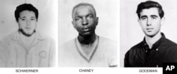 On June 29, 1964, the FBI began distributing these pictures of civil rights workers, from left, Michael Schwerner, 24, of New York, James Chaney, 21, from Mississippi, and Andrew Goodman, 20, of New York, who disappeared near Philadelphia, Miss., June 21, 1964.