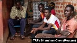 Youths sit in the Baka Youth Training Center in Gulu, Uganda, March 29, 2018.