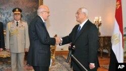 Başkan yardımcılığına getirilen muhalif lider Muhammed ElBaradey, yemin töreninde geçici cumhurbaşkanı yardımcısı Adli Mansur ile