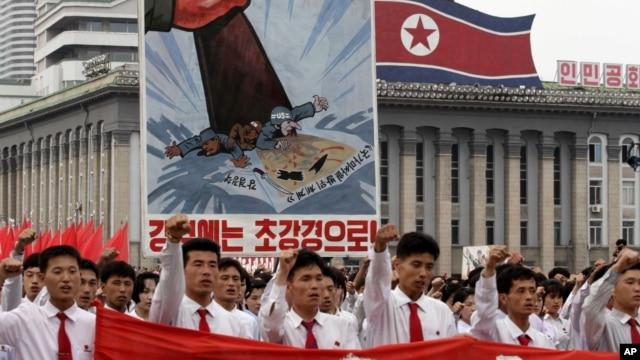 Manifestación antiestadounidense en Pyongyang, Corea del Norte.