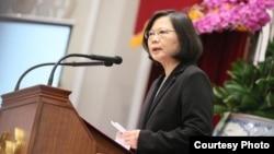 台灣總統蔡英文在年金改革國是會議上講話(台灣總統府提供)