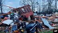 Kuća srušena u nevremenu u okrugu Bosije u Luizijani.