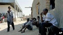 ພວກຄົນງານຊາວອາຟຣິກາ ພາກັນໄປຫລົບລີ້ຢູ່ຟາມແຫ່ງນຶ່ງ ເພື່ອໜີກໍາລັງຂອງພວກກະບົດ ຢູ່ໃນນະຄອນຫລວງ Tripoli, ວັນທີ 28 ສິງຫາ 2011.