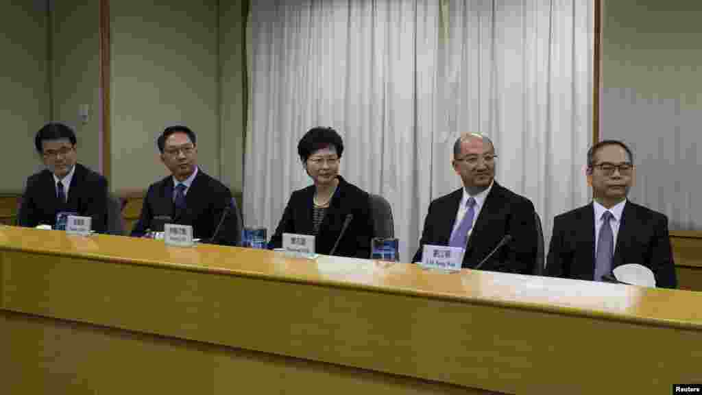 From left, Hong Kong's Chief Executive Office director Edward Yau, Secretary for Justice Rimsky Yuen, Chief Secretary for Administration Carrie Lam, Secretary for Constitutional and Mainland Affairs Raymond Tam and Undersecretary for Constitutional and Ma