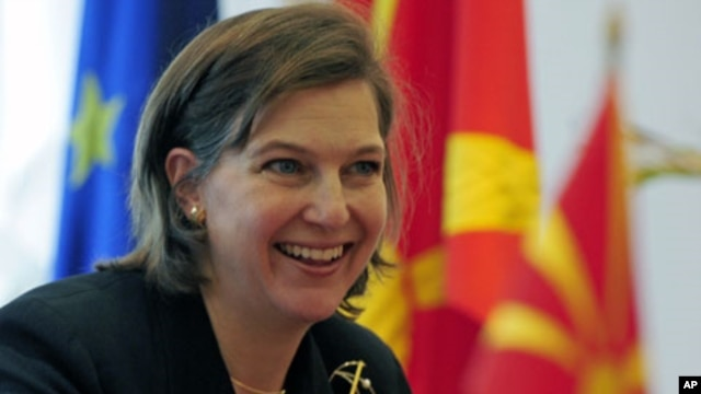 US State Department spokeswoman Victoria Nuland gestures during a meeting in Skopje, Macedonia, April  2008. (file photo)