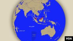 مسیر تقریبی پرواز هواپیمای ناپدید شده خطوط هوایی مالزی